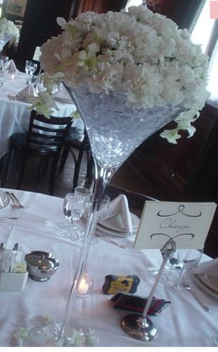 Martini centerpiece with cylinder vase