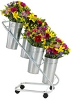 Bouquet Display w/ Galvanized Vases and Vase Liners