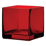 Cube Glass Vase 4x4x4 - Ruby