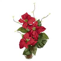 Poinsettia w/Fluted Vase Silk Flower Arrangement