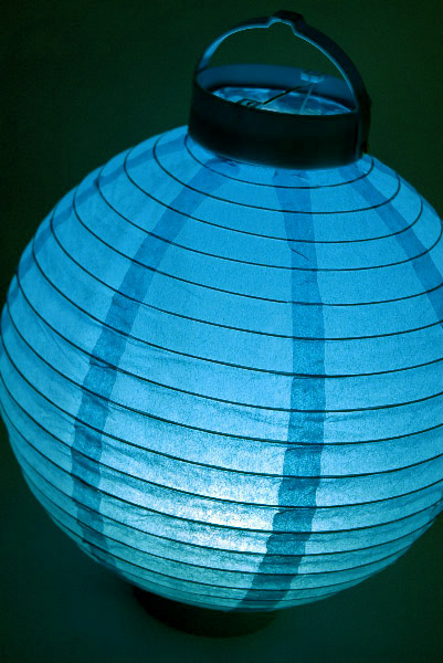 Battery operated blue lantern