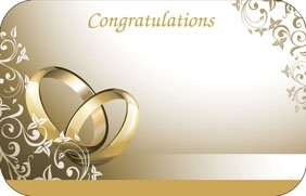 Congratulations Wedding Card Gold rings Pack of 50 enclosure cards